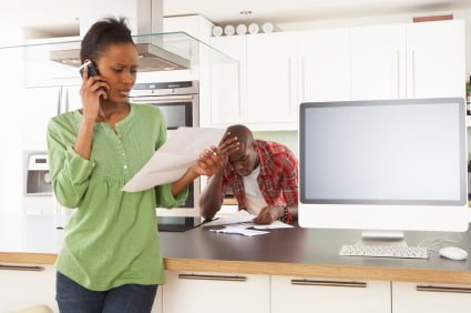 Woman talking with a Debt Collection Attorney